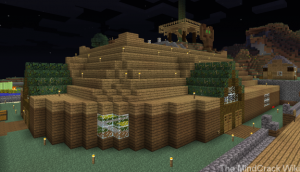 An exterior view of Guude's newly rebuilt plot at the town of Blockhaven on the MindCrack Fan Server for Guude's birthday.